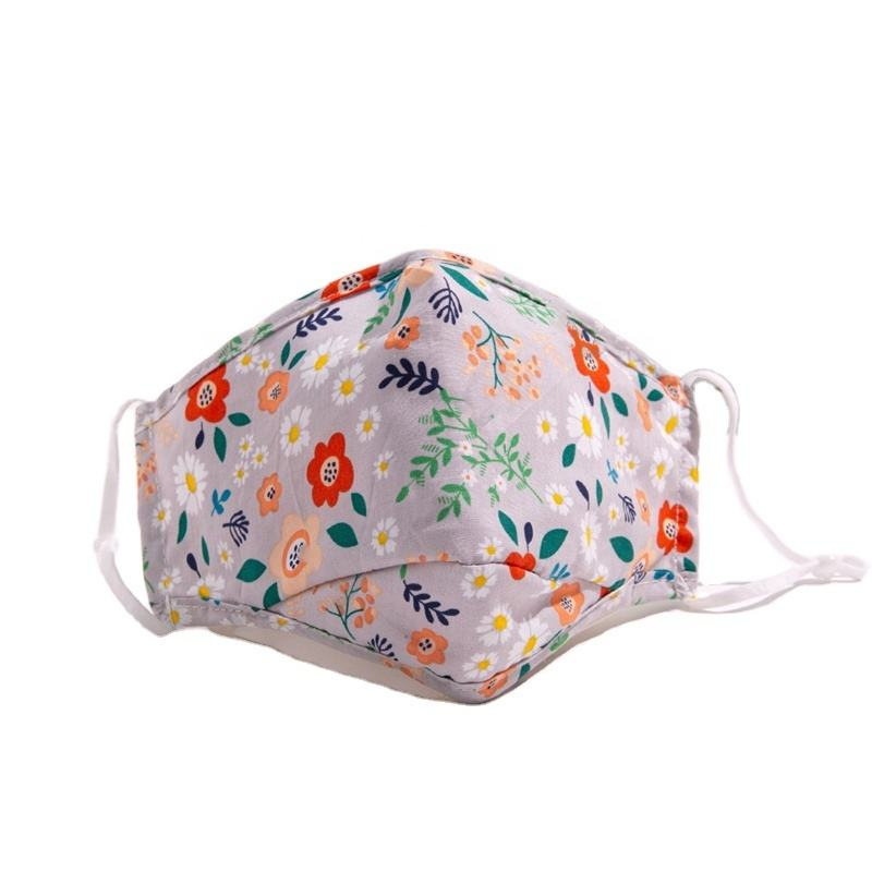 Fashionable Reusable Cheap Printed Cotton Face Maskss 3 Layers With Chin Design And Nose Wire