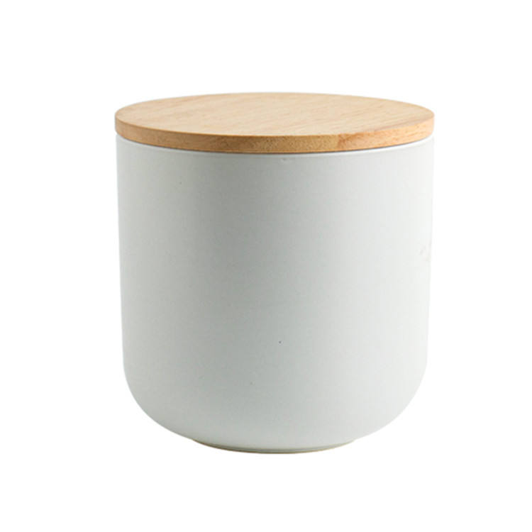Hot sale popular design matte white ceramic customized logo candle jar with wood lid