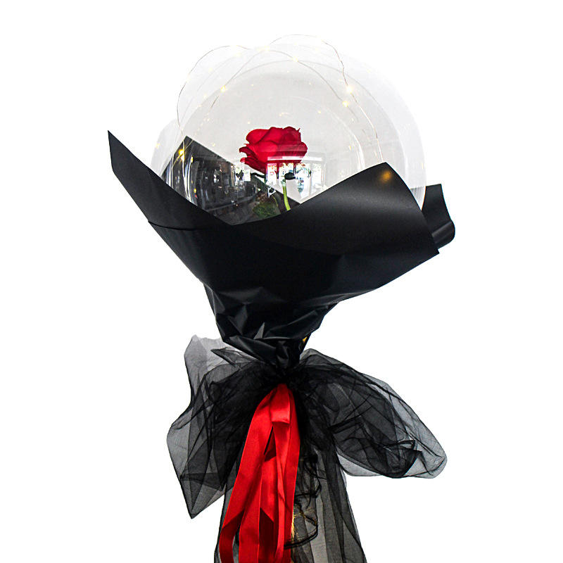 Nicro DIY Custom Hari Rose Valentine Dekorasi LED Ballon Globo Putaran Transparan Rose Bouquet Bobo Balon