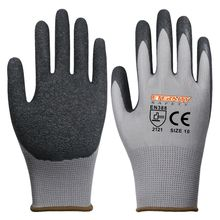 Nylon grey black bulk cheap latex coated safety working gloves