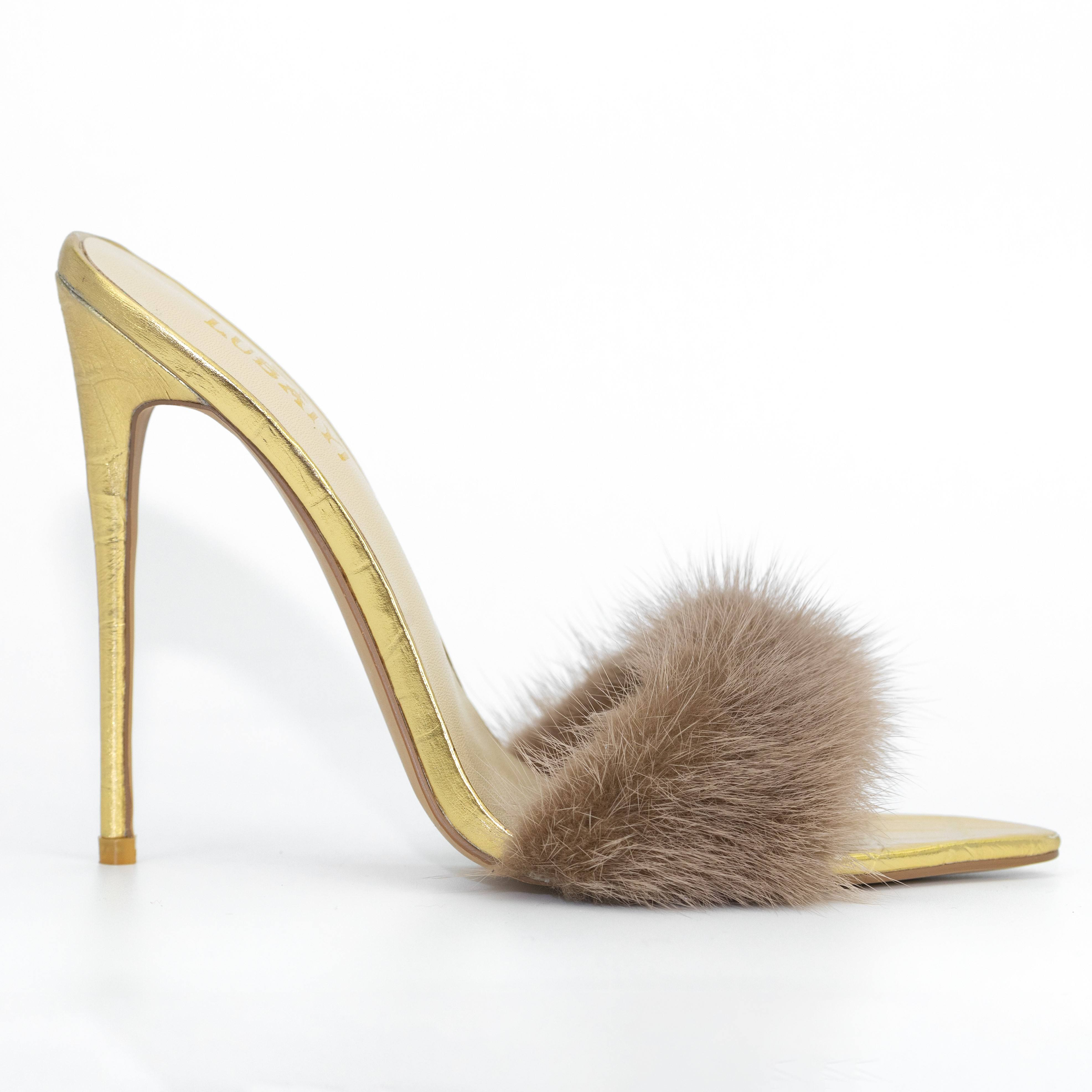Real fur 12cm high quality croco leather high quality sexy high heel slipper for party showcase Elegant golden fashion slipper