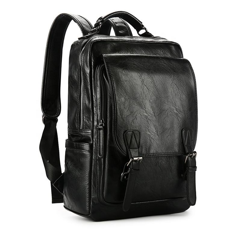 Luxury 14 Inches Laptop Rucksack Man Travel Bag Leather Backpack Male Luggage Boys PU Bucket Shoulder Bags Men Backpacks