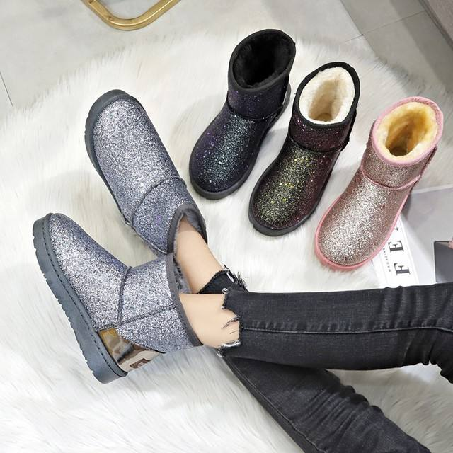 Lifu Women's Winter Boots Popular Fashion Shoes Women Ladies Non Slip Pink Sequin Snow Boots Women