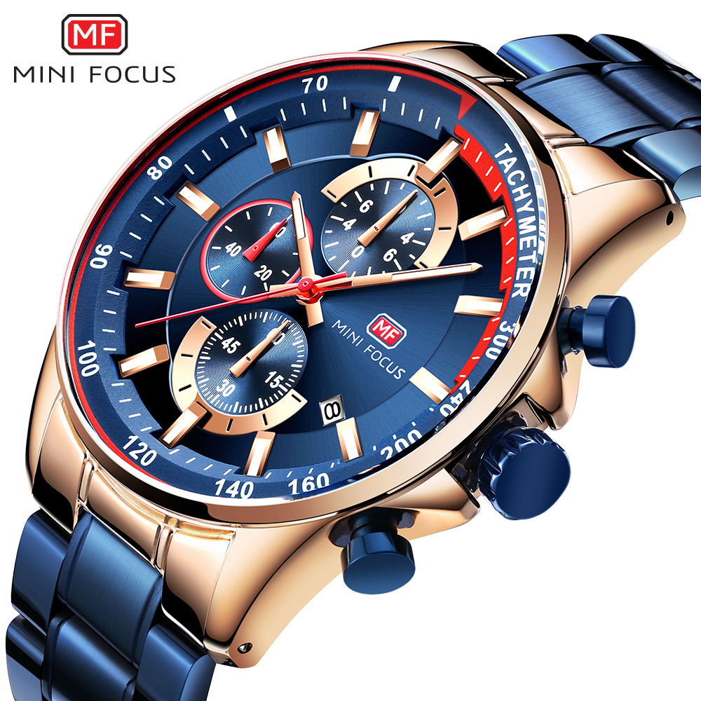MINI FOCUS MF0218G Storage creative Analog Watch 3 dial Chronograph Stainless Steel Strap king formal high quality watch for men