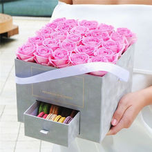 Customised Valentine Artificial Big Cube Gift Flower Arrangement Floral Square Flower Box With Drawer