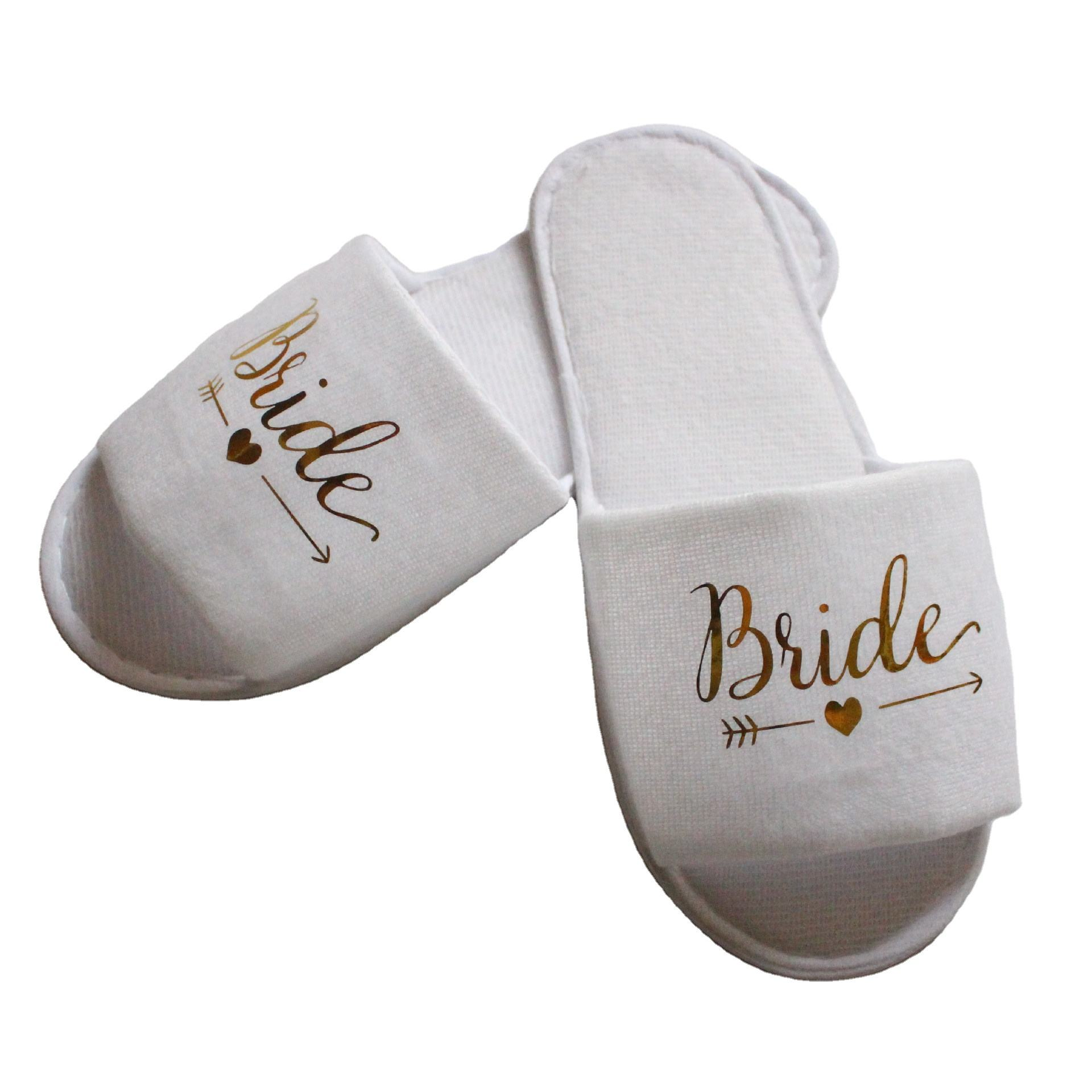 Wedding Bride Slippers Disposable Items Bride Letter Bright Font Shoes