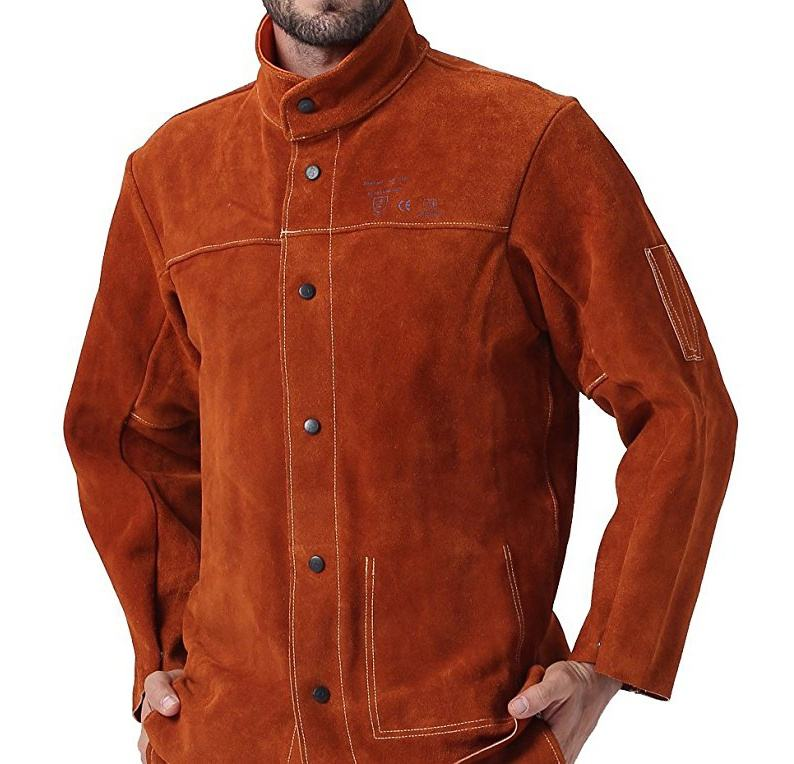 Coffee FR Welder Clothing Cowhide Weldor Apron Fire Proof Coverall Heavy Duty Flame Retardant Cow Leather Welding Work Jackets