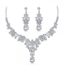 Fashion wholesale unique vintage costume lady beauty silver necklace earring set women Bridal Zircon crystal jewelry for wedding