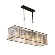 Rectangle LED Simple Crystal Pendant Light Hanging Chandelier