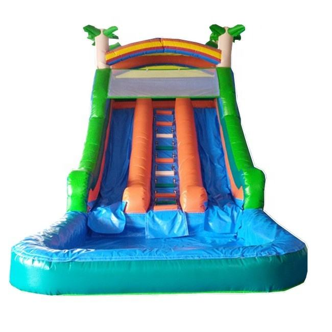 Inflatable Palm Tree Water Slide with Pool / Inflatable Wet Slide with Pool / Inflatable Slip N slide for Kids