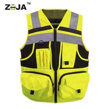 ZUJA Zipper Multi Pockets Reflective Tape Breathable Design Safety Vest