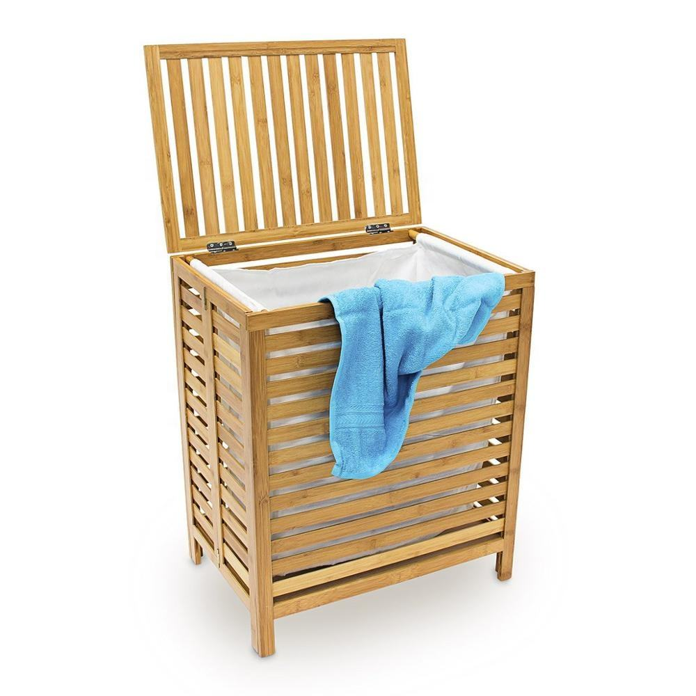 60 x 35.5 x 50.5 CM Natural Bamboo Wooden Laundry Hamper Linen Basket With Lid Laundry Box Laundry