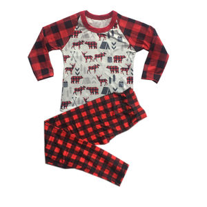 christmas pjs kids black red plaid outfits wholesale boutique children pajamas