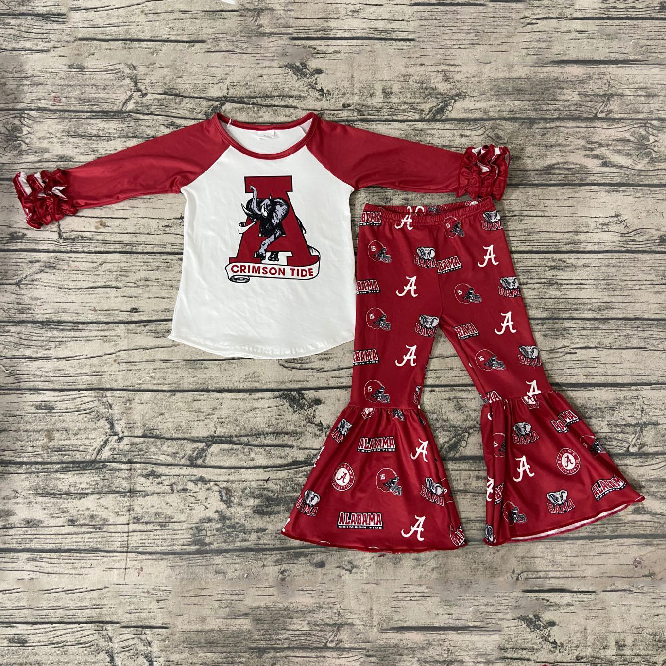 Kids Baby Girl Clothing Sets Alabama Saints Football T-shirt Flare Pants 2PCS Suit Outfit Children Boutique Outfits