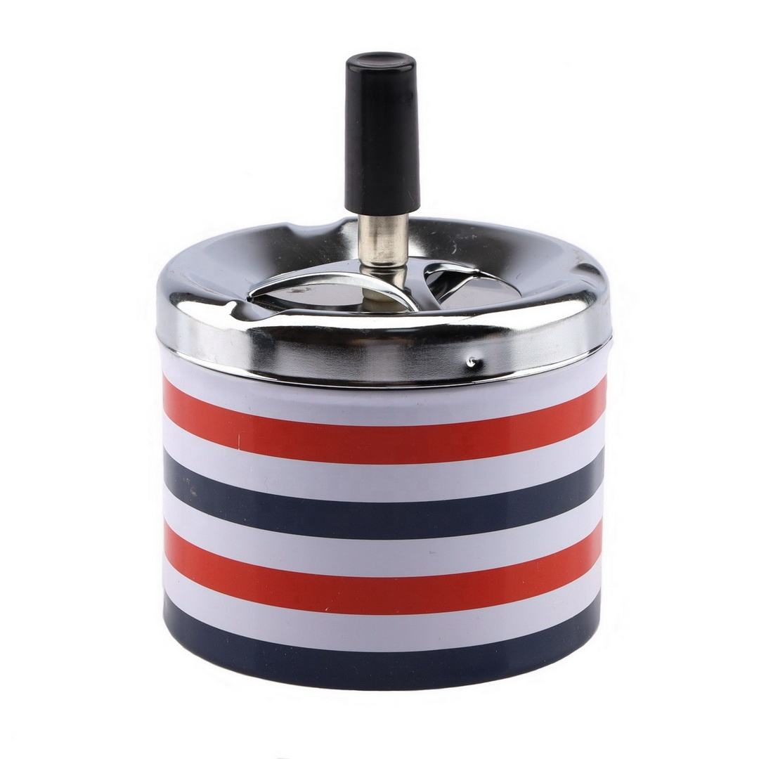 Metal Tinplate Round Ashtray Windproof with Lids Press Rotary Portable Ash Tray Living Room Bar Office Smoking Accessories