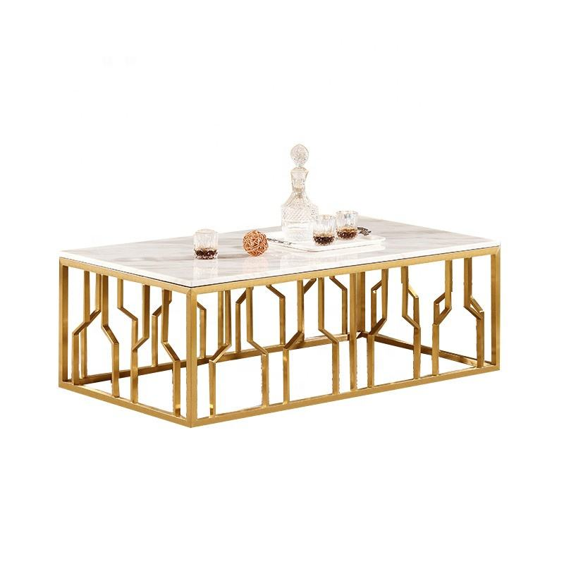 Modern design stainless steel table frame square marble tea coffee center table