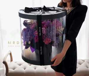 Big Flower Box Round PVC Transparent Valentine's Day Wedding Christmas Birthday Flower Box