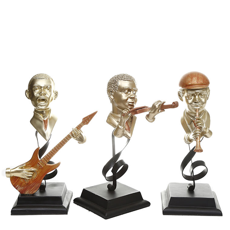 Modern Musician Character Home Ornaments , Violin guitar trumpet Band Resin Crafts