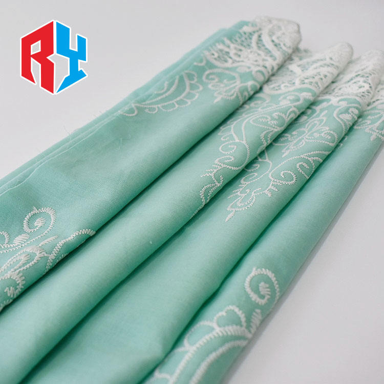 Low price durable fancy 100% cotton lace fabric embroidery for dress textile
