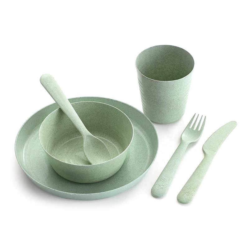 Wholesale Eco Friendly Luxury Kitchen Kids Wheat Straw 6 Pcs Knife Fork Spoon Bowl Dinnerware Dinner Set