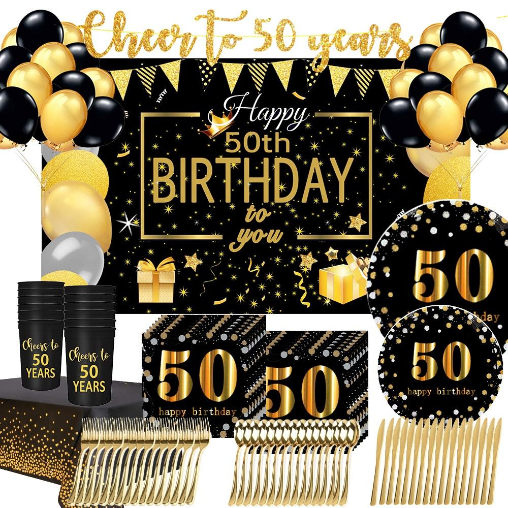 2020 new arrivals gold black 50th birthday party supplies tableware 50th birthday anniversary party supplies decorations