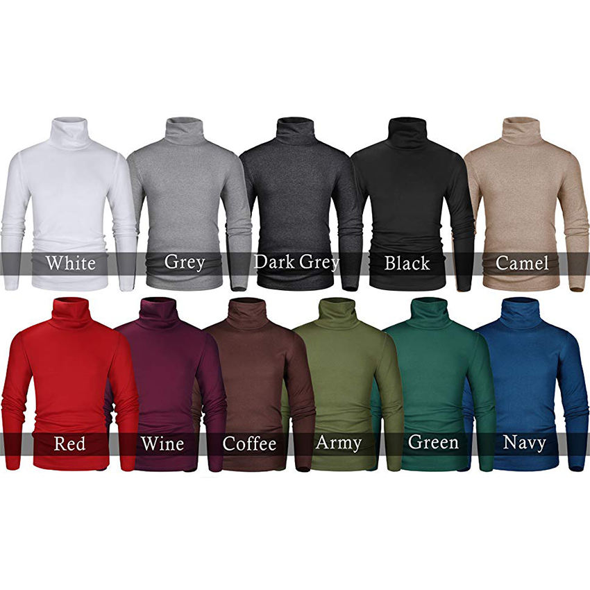 OEM Custom Men's Slim Fit Soft Turtleneck Long Sleeve Pullover Thermal T Shirt