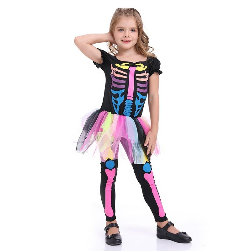In stock halloween costume for kids girls skeleton costume
