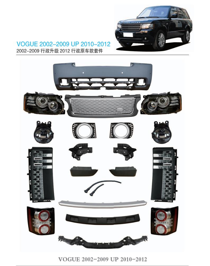 New Design L322 Car Outer Parts Full Facelift Body <span class=keywords><strong>Kit</strong></span> For Range Rover Vogue 2002-2009 Replacement To 2010-2012