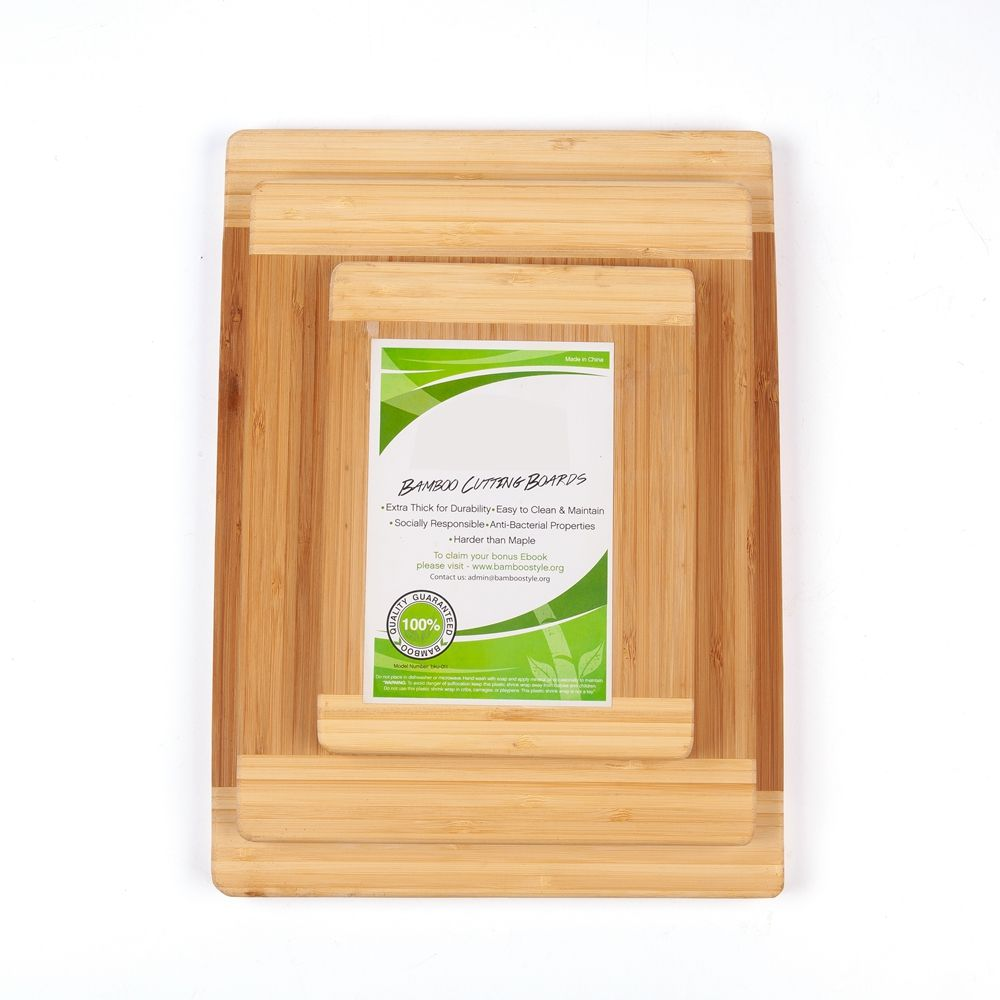 Large Organic Bamboo Cutting Board Set Of 3 Compartment Chop Board