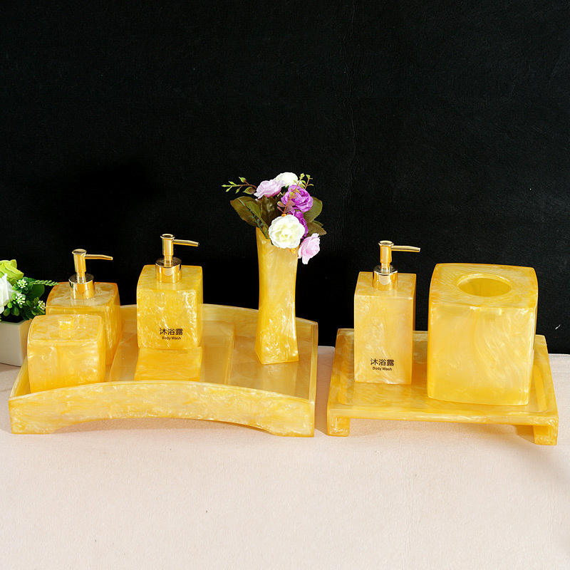 customized yellow transparent resin bathroom accessories sets for hotel supplies