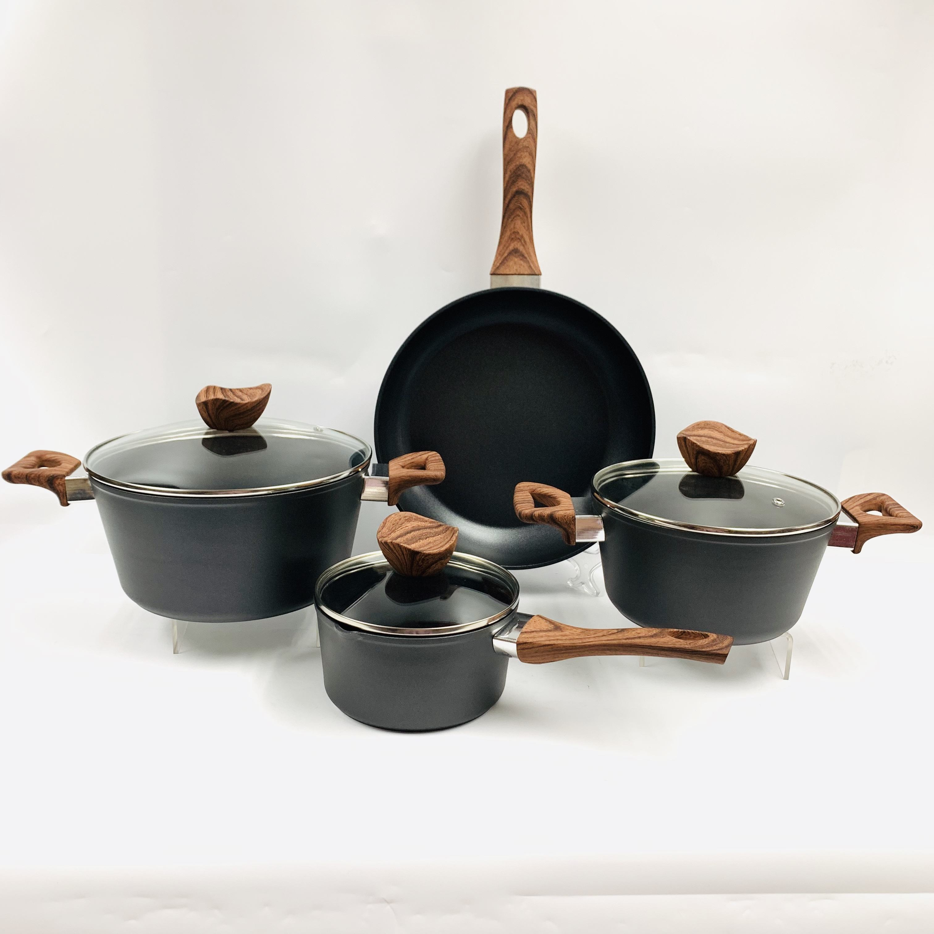 wooden painted handles cookware sets nonstick aluminum aluminium kitchen set