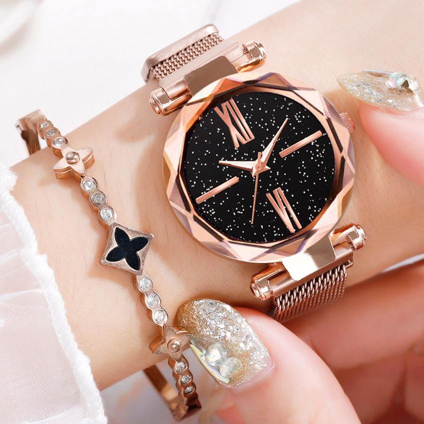 New Fashion 2019 Ladies Wrist Watches for Women Rose Gold Magnet Starry Sky Diamond Quartz Watch Clock Ladies Watch Reloj Mujer
