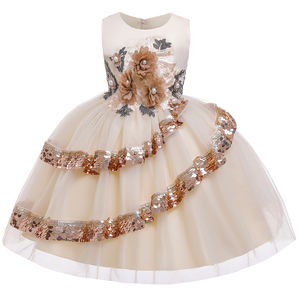New Style Sequin Flower 3-9 Years Girl Birthday Party Wedding Gown Children Dresses L5148