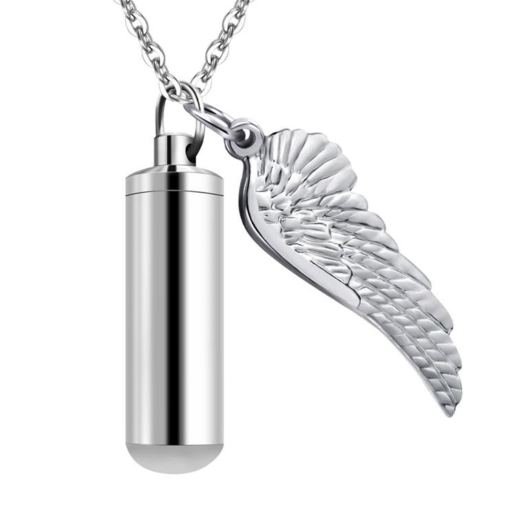 Pet Cremation Pendant Urn Angel Wings Necklace Charms