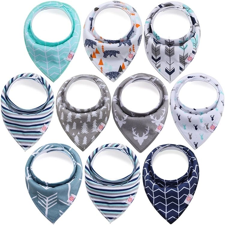 In stock 10 pack 100% Organic Cotton Fashion design Absorbent customized gift set Baby bandana bibs
