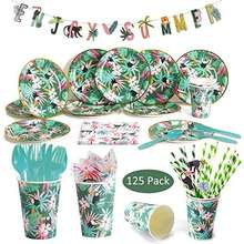 Umiss Paper Hawaiian Tropical Party  Tableware Set, Disposable Dinnerware, Hawaii Birthday Party Decorations