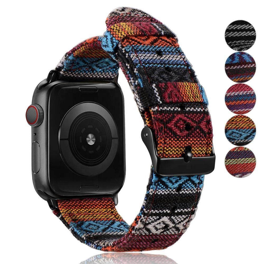 JUELNOG Women Unisex Fabric Woven Strap Nylon Watch Band for Apple Watch Band