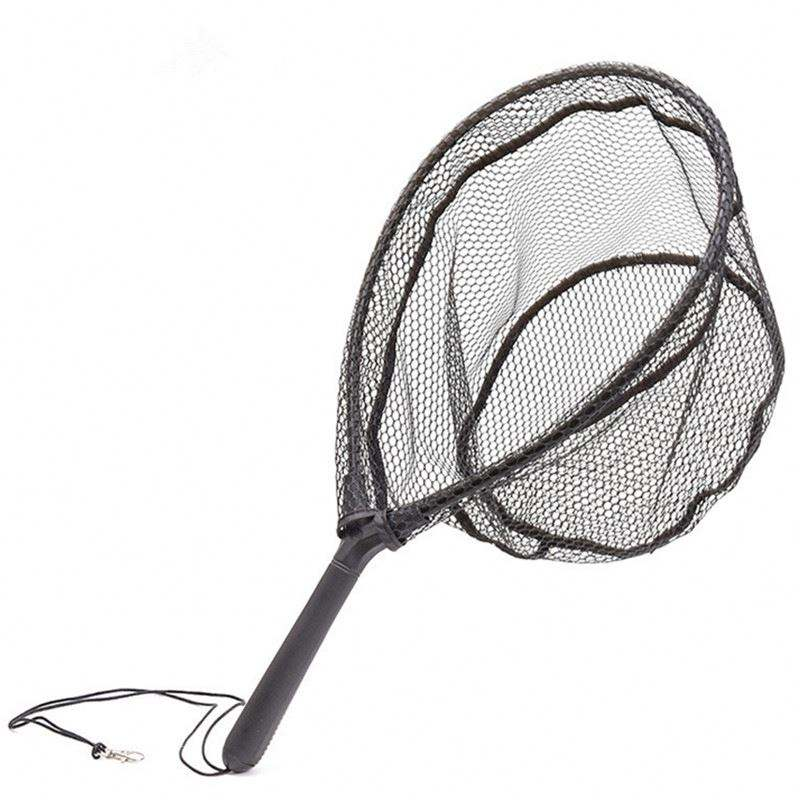 Fishing Landing Net Portable Collapsible Fish Catching Net ABS Handle Durable Rubber Coating Nylon Fishing Tools