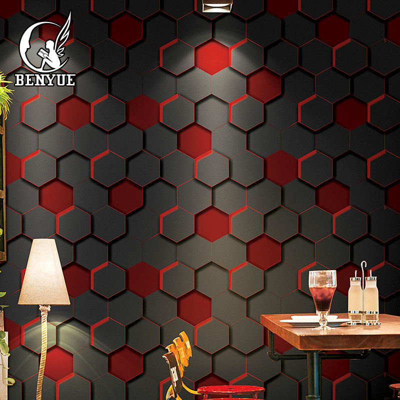 wholesale geometric hexagon designs waterproof 3d PVC wallpaper for game hall