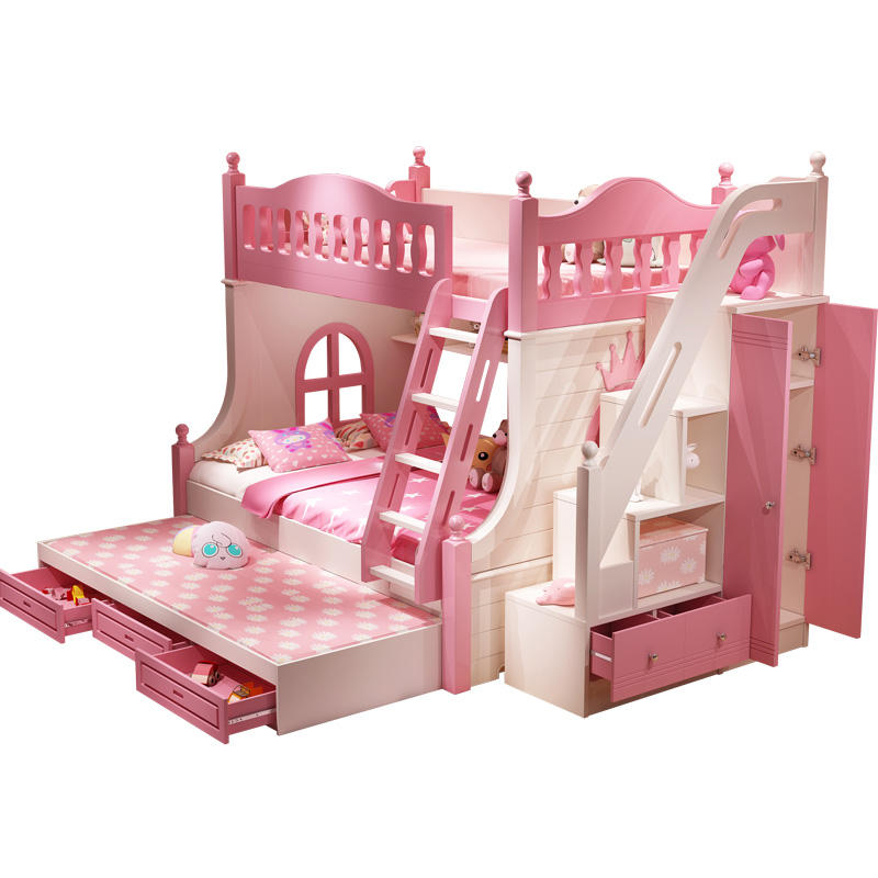 Princess Dream Castle Bed Multifunctional Solid Wood Children's Bunk Bed with Slide Wardrobe