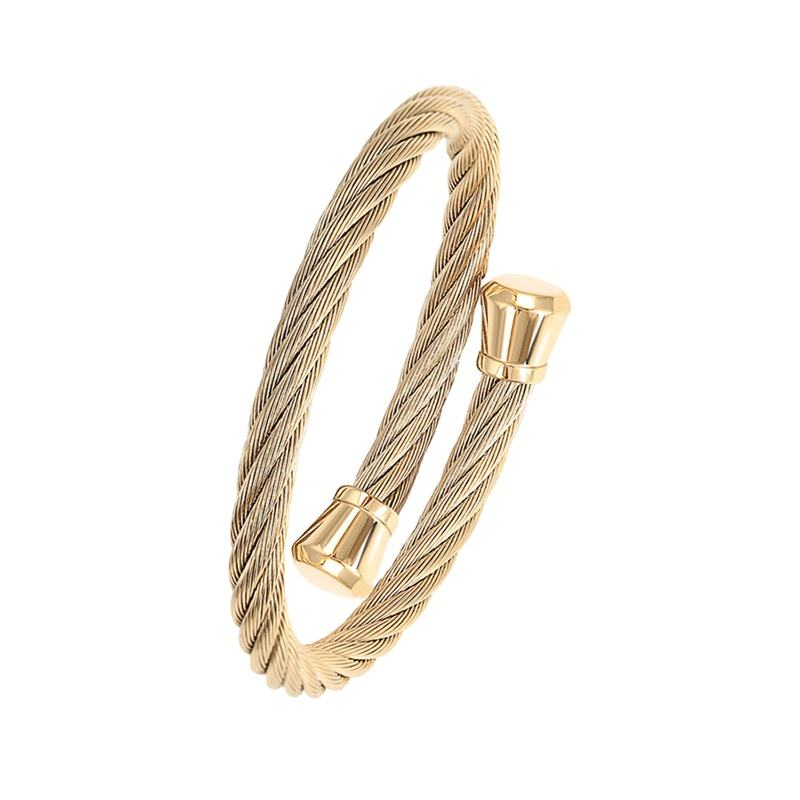 52450 xuping jewelry 2020 14k gold fashion men bangle+stainless steel cable wire bracelet bangle