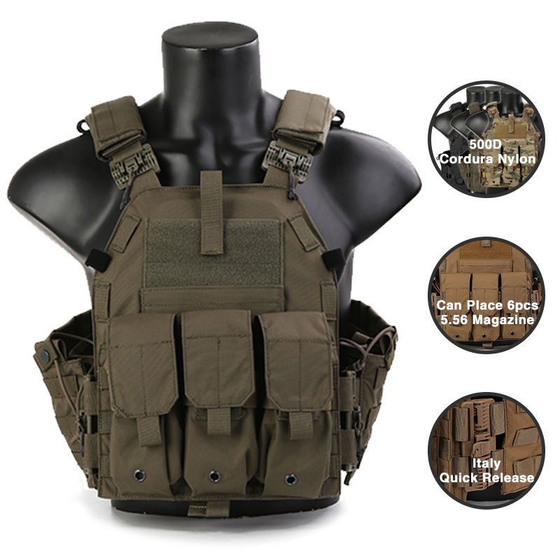 Emersongear Paintball Combat Molle Vest Airsoft Tactical Gear Police Army Vest Military Equipment With Magazine Pouch