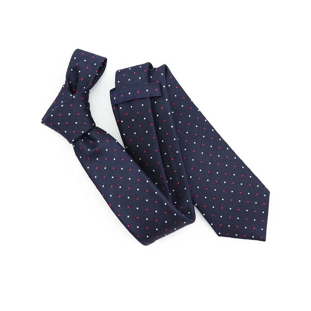 Business Mens Navy Blue Grosgrain Ties White Red Polka Dot Woven Jacquard Necktie Latest Fashion 100% Silk Tie