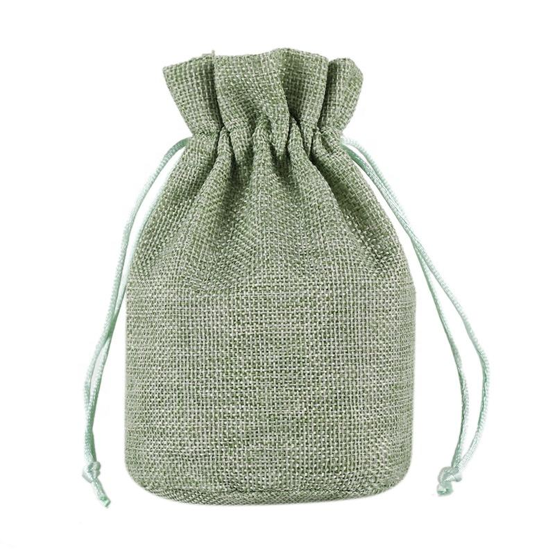 Logo print Small Linen String Pocket Cloth Bag Drawstring Pouch Storage Bag for Jewelry Gift