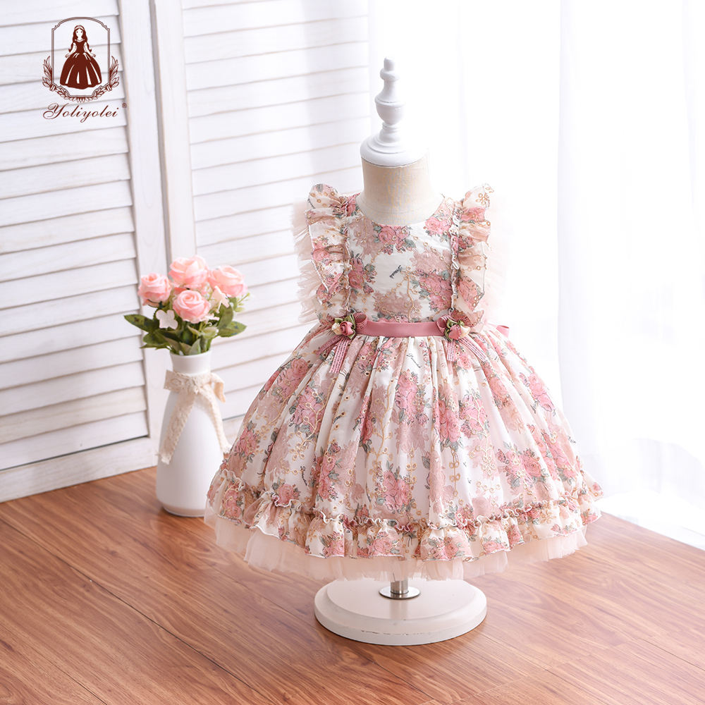 Wholesale 1st Birthday Party Dress Hollow Embroidery Floral Printed Kids Ball Gown Royal Lolita Spanish NewBorn Baby Girl Dress
