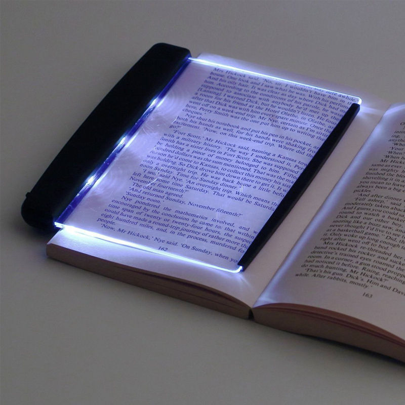 led night book reading light panel with led light wedge