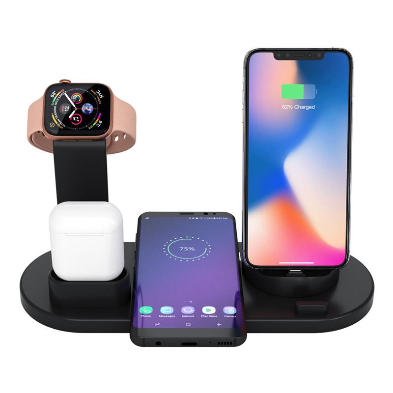 Desktop Charger 3で1 Wireless Charger Compatibility Wireless Charge Dock Charger 6 Devices電話腕時計イヤホン携帯電話