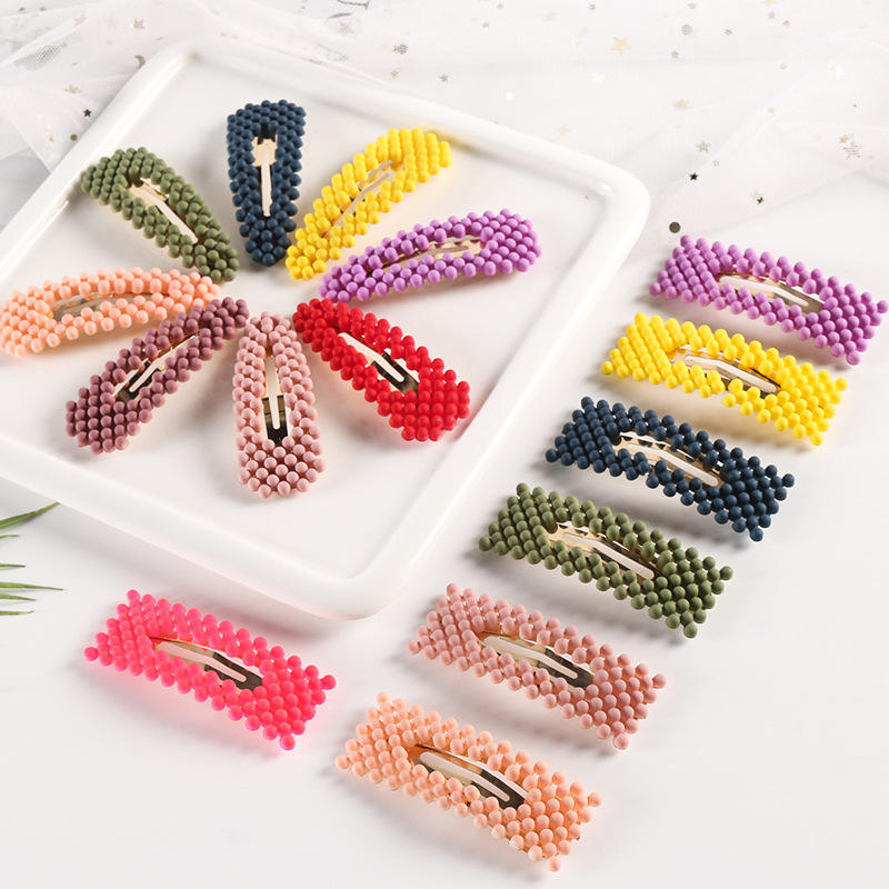 LRTOU Wholesale Custom Fashion Hair Accessories Girls Flat Hairgrip Barrette Hairpins Colorful Bead Hair Clip For Women