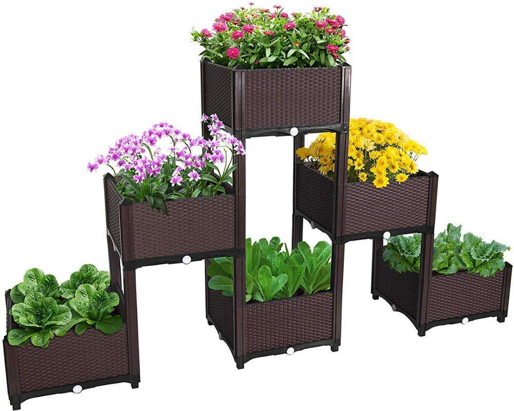 Plastic Grow Bed Raised Garden Elevated Vegetable Flower Plant Box for Garden Tool Easy to Install