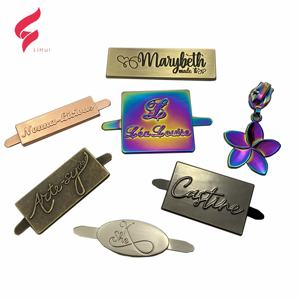 High quality design metal brand name raised metal logo plates for handbag brand logos